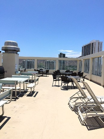 Rooftop seating and BBQ area
